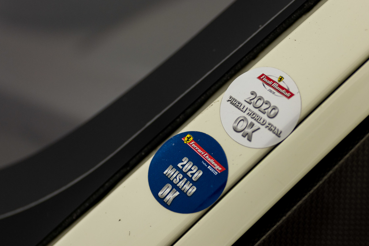 Close up of racing entry decals.