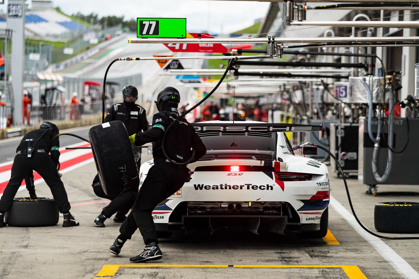 Porsche on pit road.