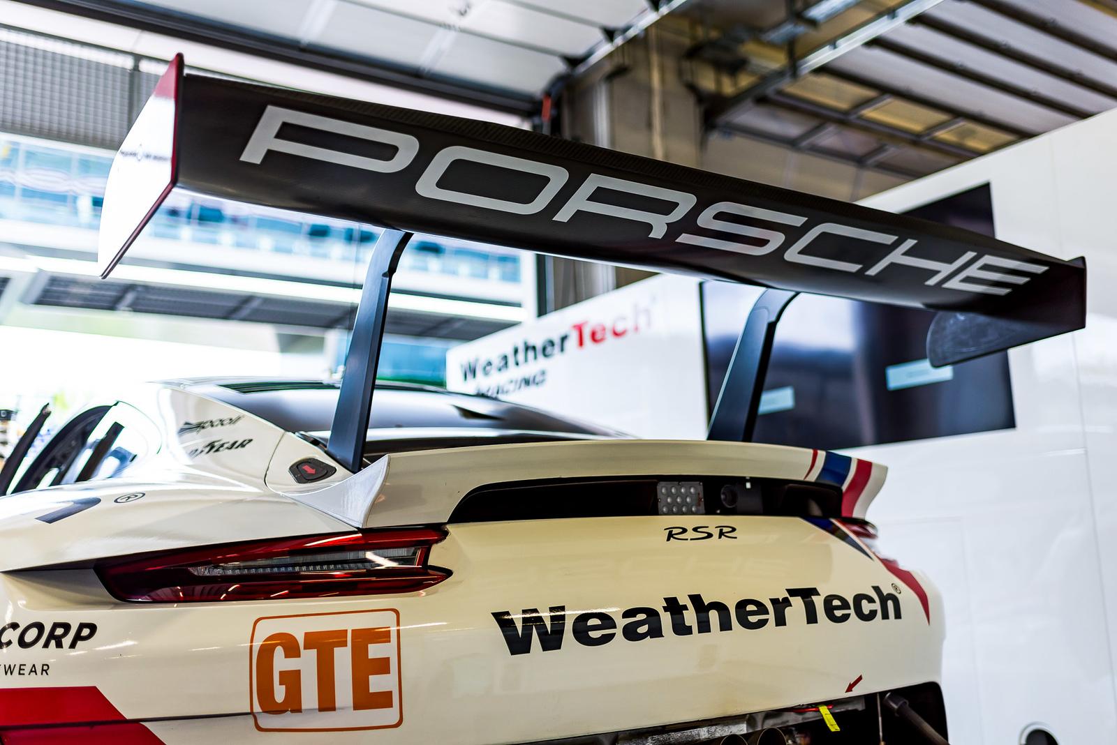 Porsche in the garage.