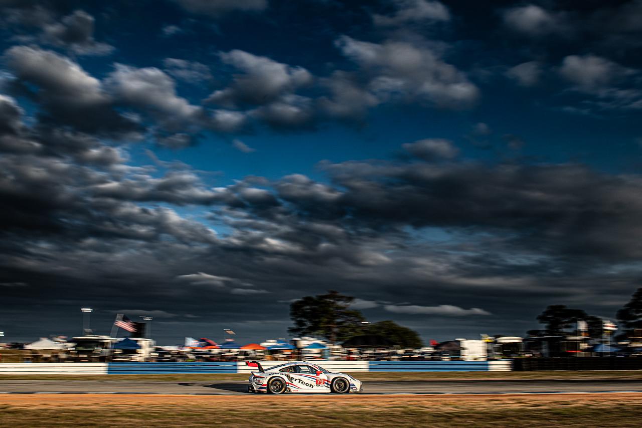 Porsche under the Sebring sky.