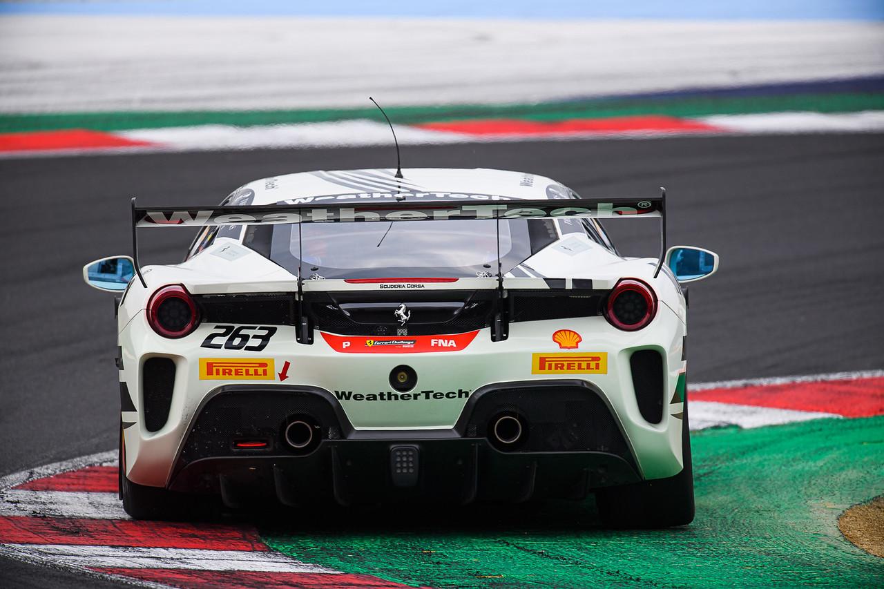 Rear view of the Ferrari.