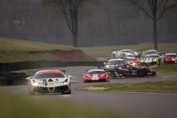 Ferrari leading traffic.
