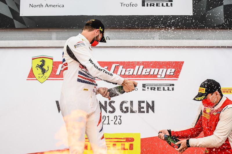 Spraying champagne.