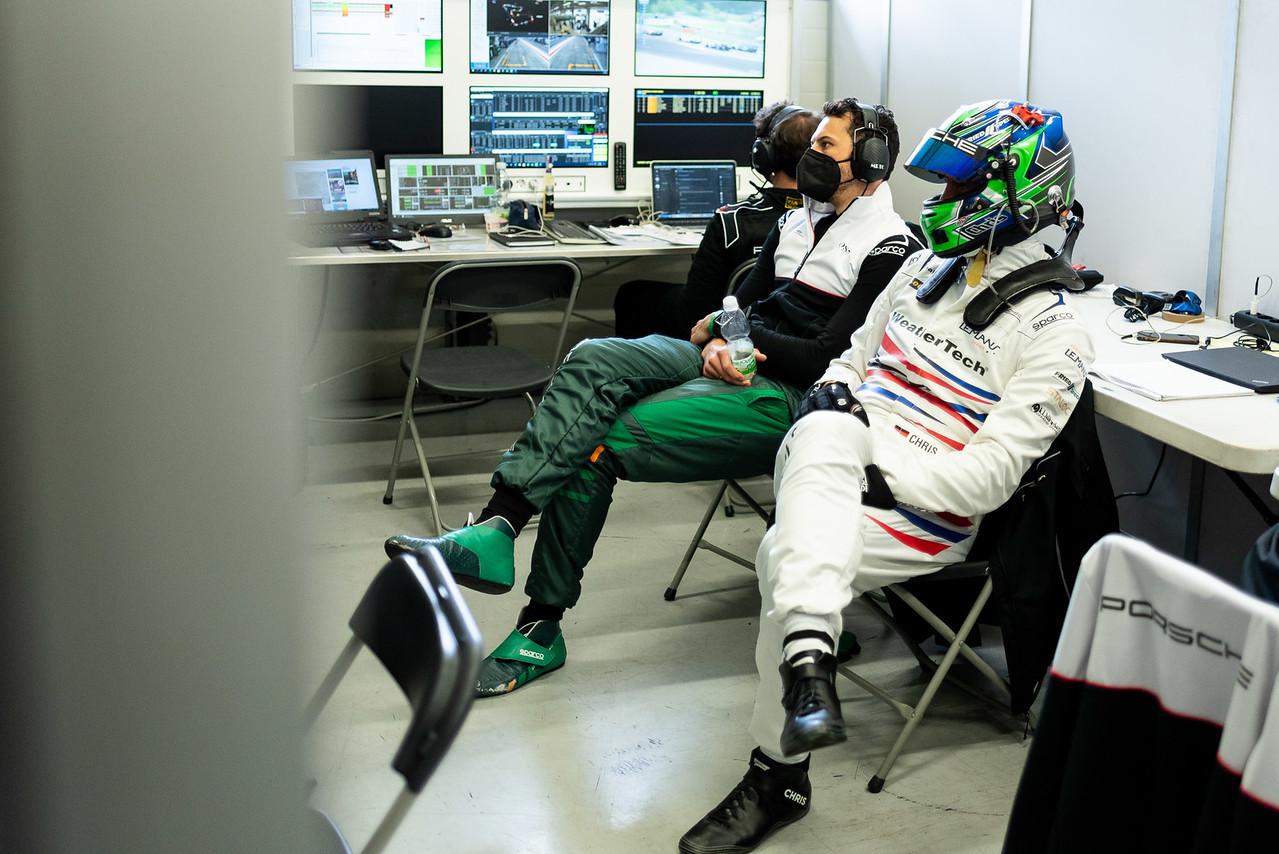 Drivers watching monitors.