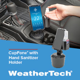 Image of WeatherTech CupFone with Hand Sanitizer Holder.