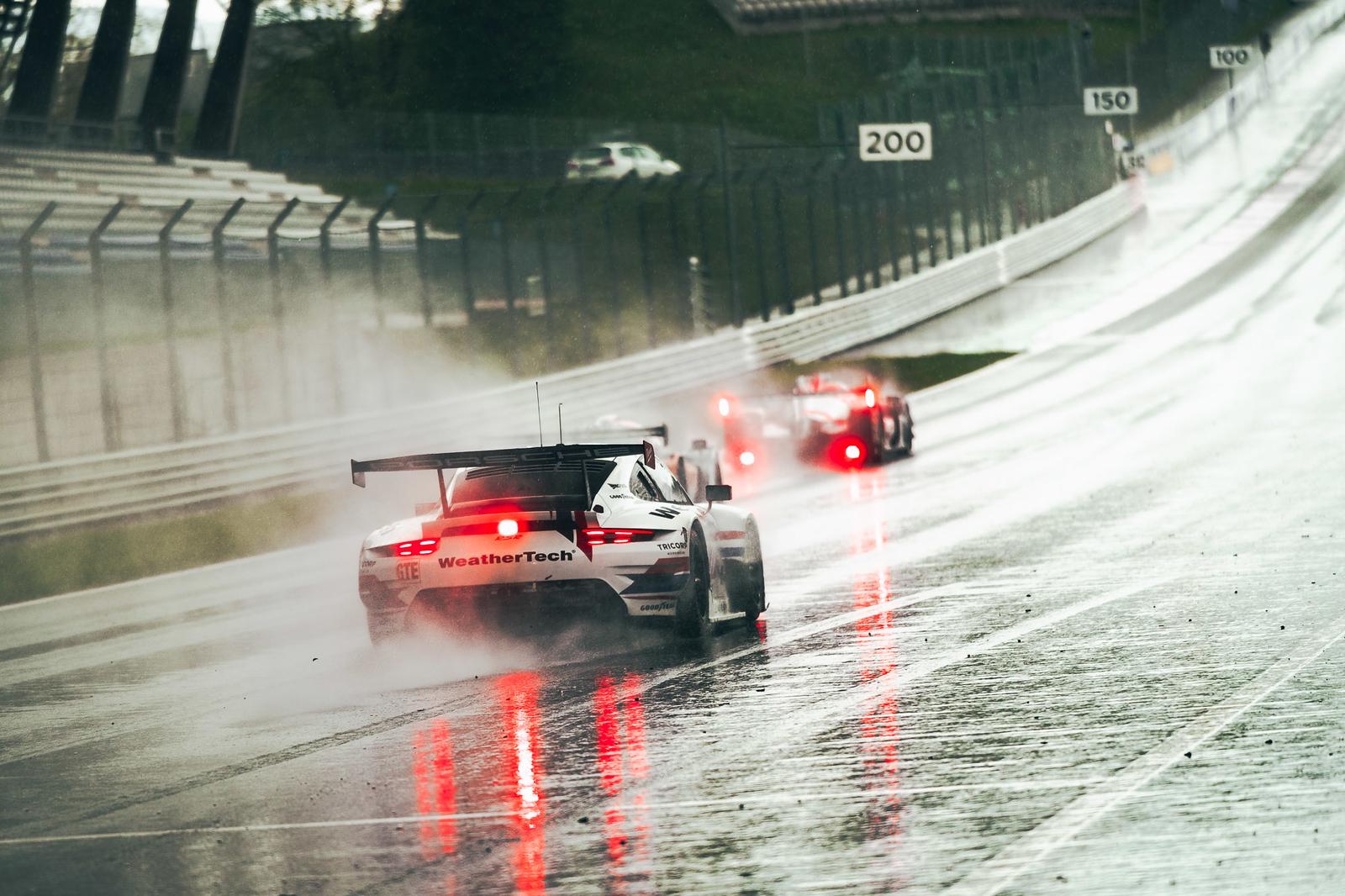 Porsche in the rain.