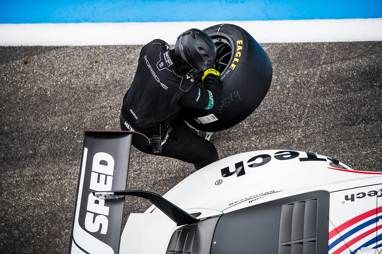 Looking down on a pit stop.