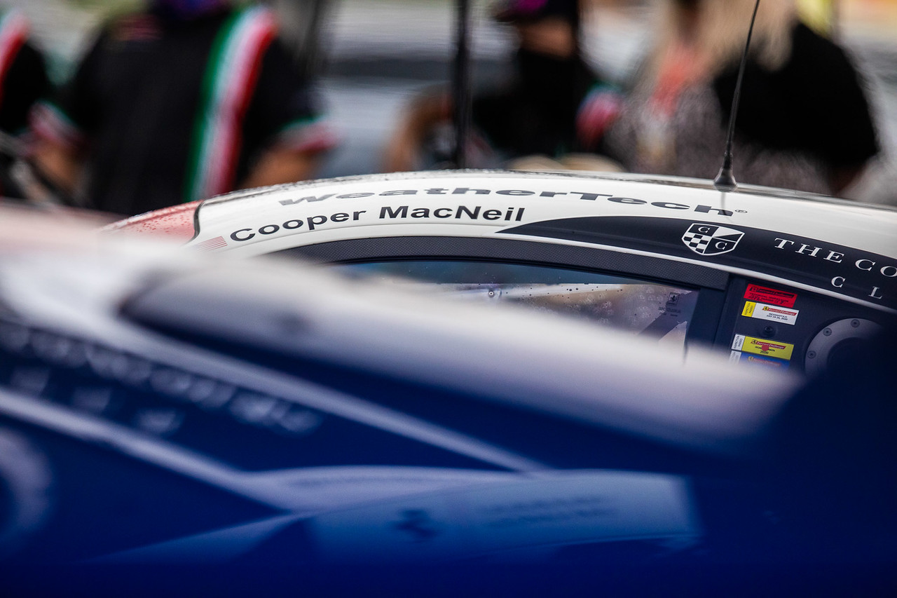 View of Coopers name on the Ferrari.