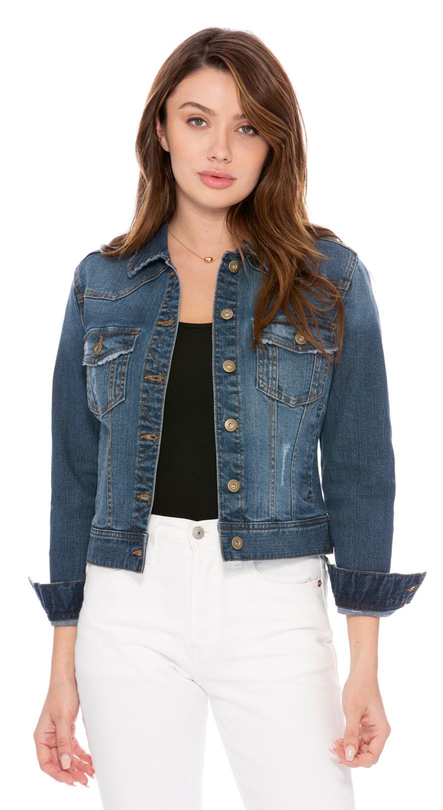 Classic Medium Blue Wash Distressed Denim Jacket