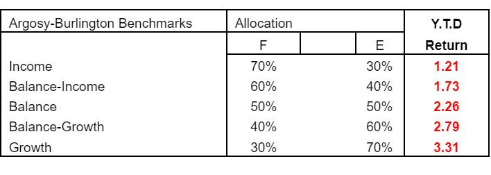 benchmarks, income, balance sheet, allocation, YTD return, year to date, returns