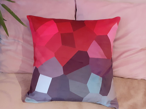 Kaleidoscope- velvet cushion (red/gray)