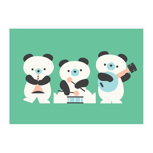 Panda Bear 'Band' A3 poster
