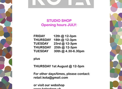 KOTA studio shop opening hrs July/August