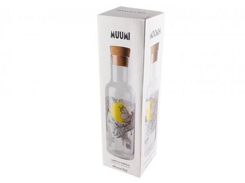 Moomin glass bottle with a cork lid