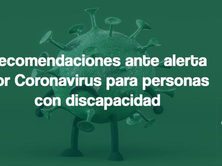 Recomendaciones para personas con discapacidad ante el Coronavirus