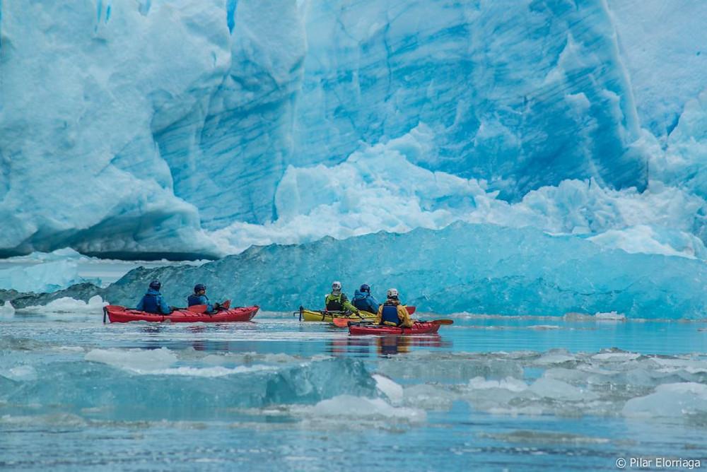 Fotografia de  varias personas navegando en un encenario helado