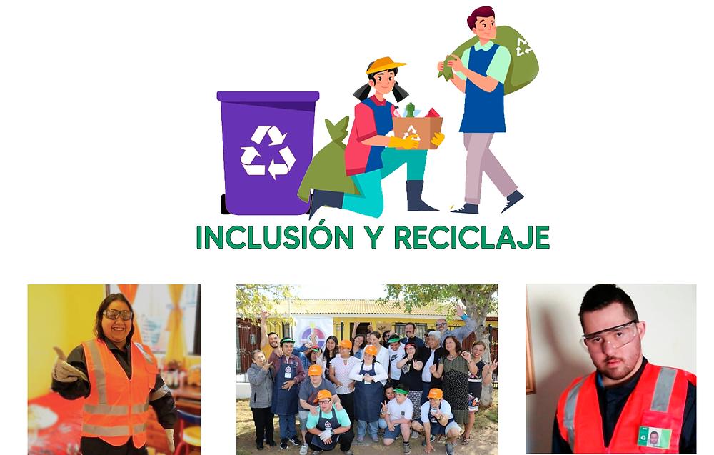 Imagen del logo Inclusión y Reciclaje y en la parte inferiror de la imagen se muestra tres fotografias del proyecto