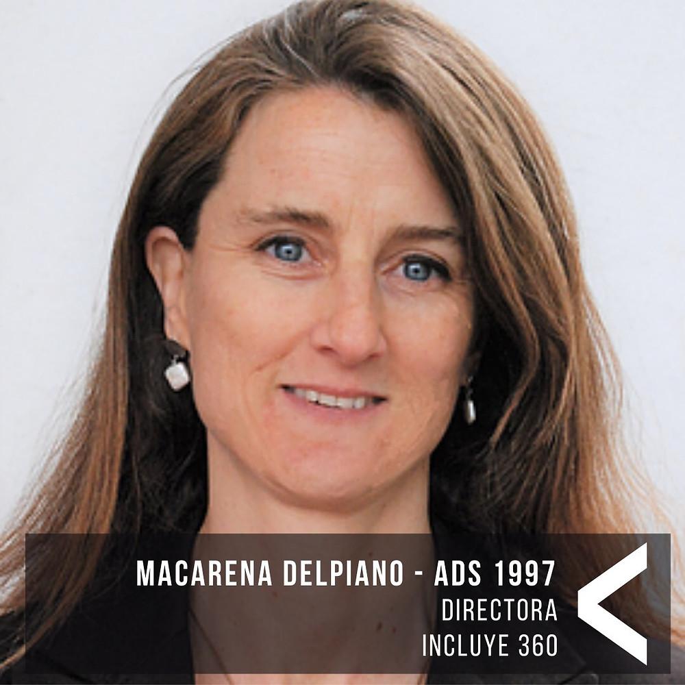 Fotografía de perfil de Macarena Delpiano, Directora de Inlcuye 360, mujer con cabello castaño rubio, ojps azules y piel clara.
