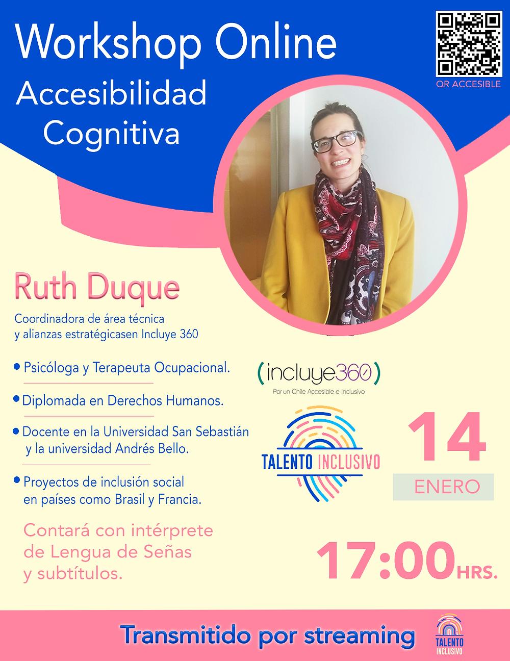 Afiche Workshop Online Accesibilidad Cognitiva