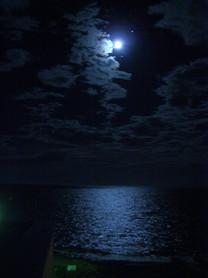 夜の海と月