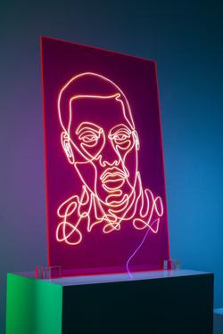 Nas Neon Rap Portrait