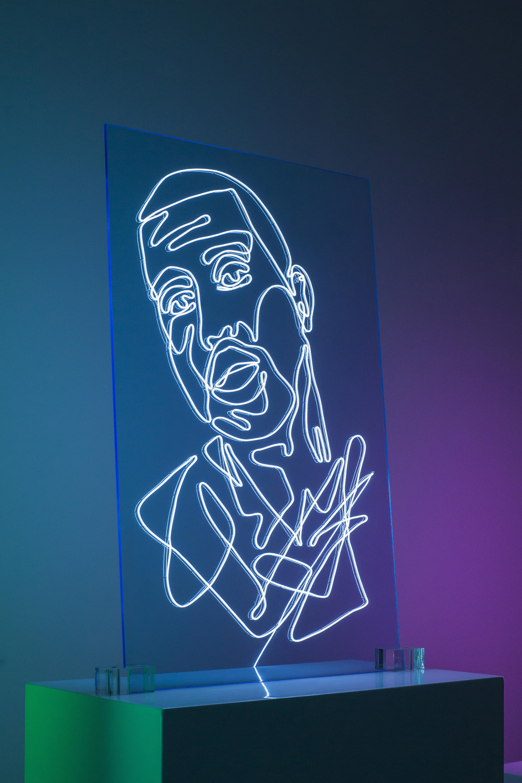 Kanye West Neon Rap Portrait