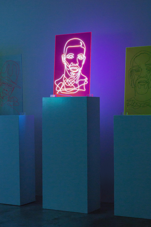 Drake Neon Rap Portrait