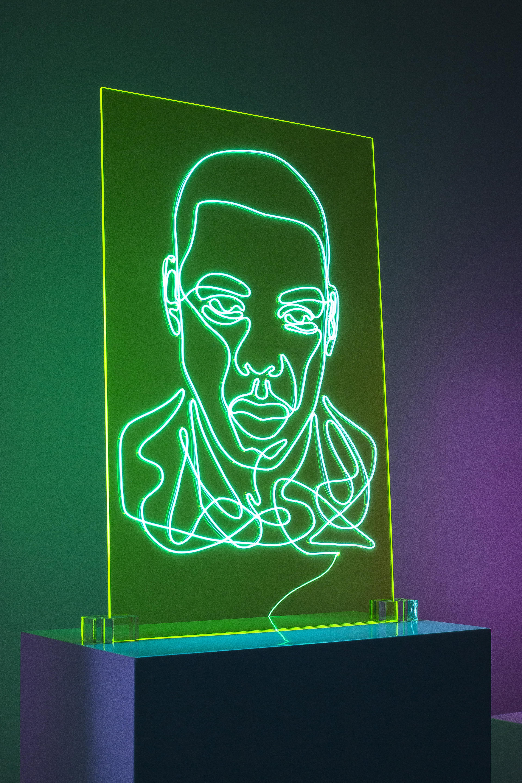 Jay Z Neon Rap Portrait