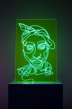 Tupac Neon Rap Portrait