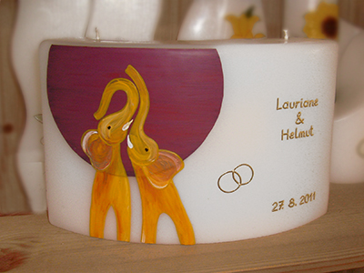 Hochzeitskerze bemalt mit Elefanten
