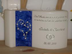 Hochzeitskerze mit Perlenherz