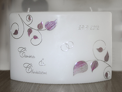 Hochzeitskerze edel rosa