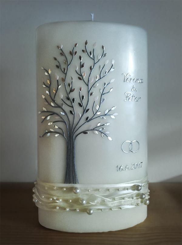 Hochzeitskerze Lebensbaum Perlenband
