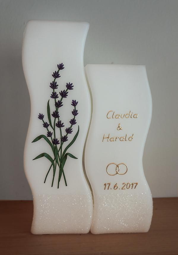 Hochzeitskerze individuell Lavendel