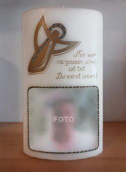 Trauerkerze Engel gold mit Foto