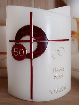 Kerze mit Kreuz zum 50er