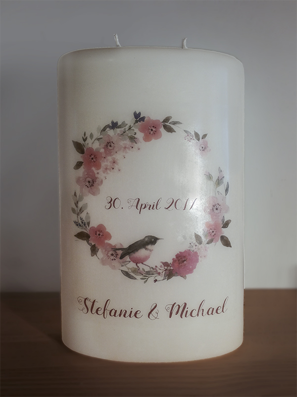 Hochzeitskerze Foliendruck