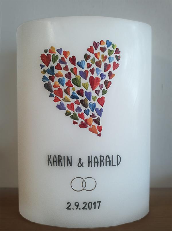 einzigartige Hochzeitskerze Herzen
