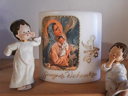 Weihnachtskerze Marienbild