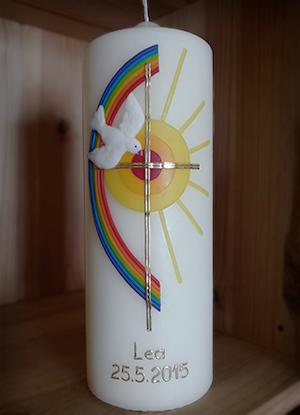 Firmkerze Regenbogen und Sonne