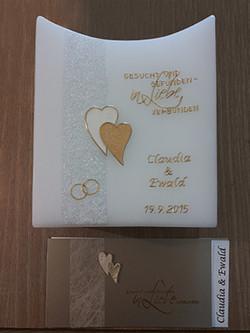 Hochzeitskerze mit Glitter & Spruch
