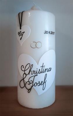 Hochzeitskerze Kalligrafie Herz