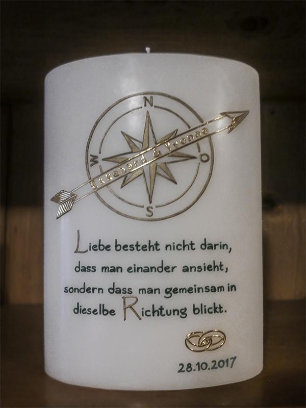 Hochzeitskerze individuell Kompass