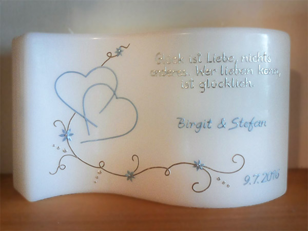 Hochzeitskerze Welle romantisch blau