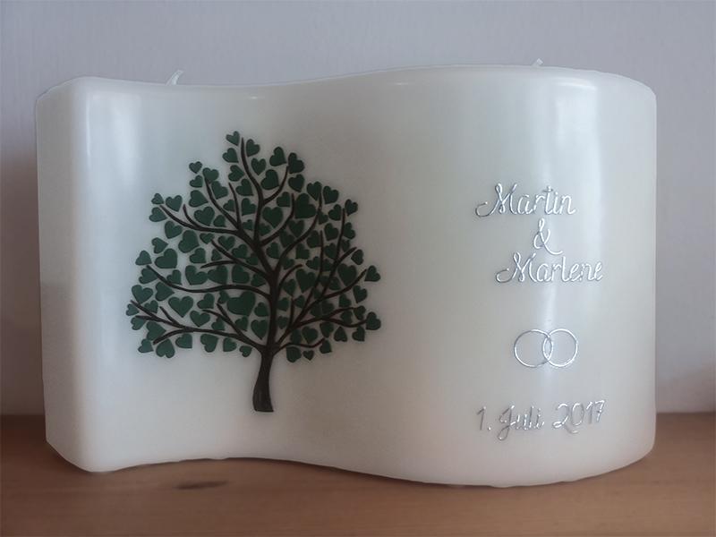 Hochzeitskerze Lebensbaum Herzen