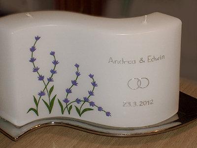 Hochzeitskerze Welle mit Lavendel