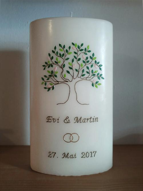 Hochzeitskerze Lebensbaum modern
