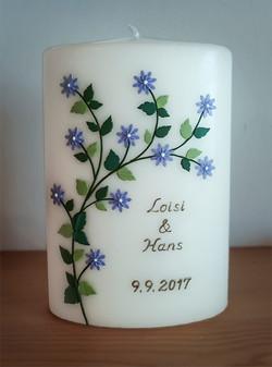 Hochzeitskerze lila Blüten