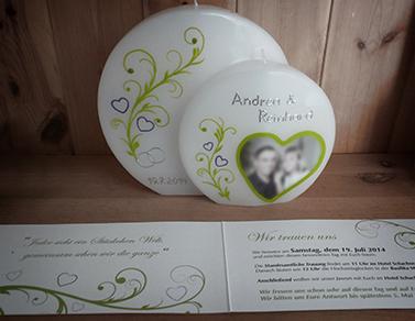 Hochzeitskerze nach Einladung