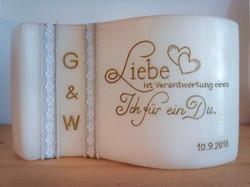 Individuelle Hochzeitskerze Spruch